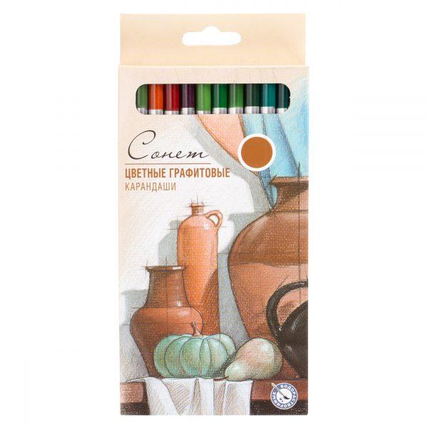 Набор цветных графитовых карандашей Сонет, 12 цветов.
