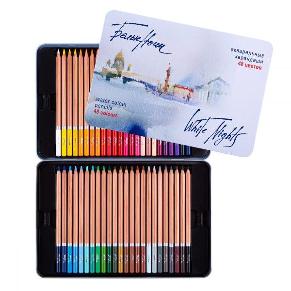 Набор акварельных карандашей с кистью Белые Ночи в жестяном пенале, 48 цветов.