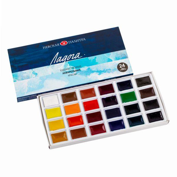Набор акварельных красок Ладога, 24 кюветы