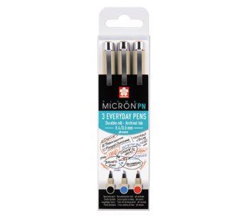 Набор капиллярных ручек Pigma Micron PN 3шт (0.4мм-0.5мм) черный, синий, красный
