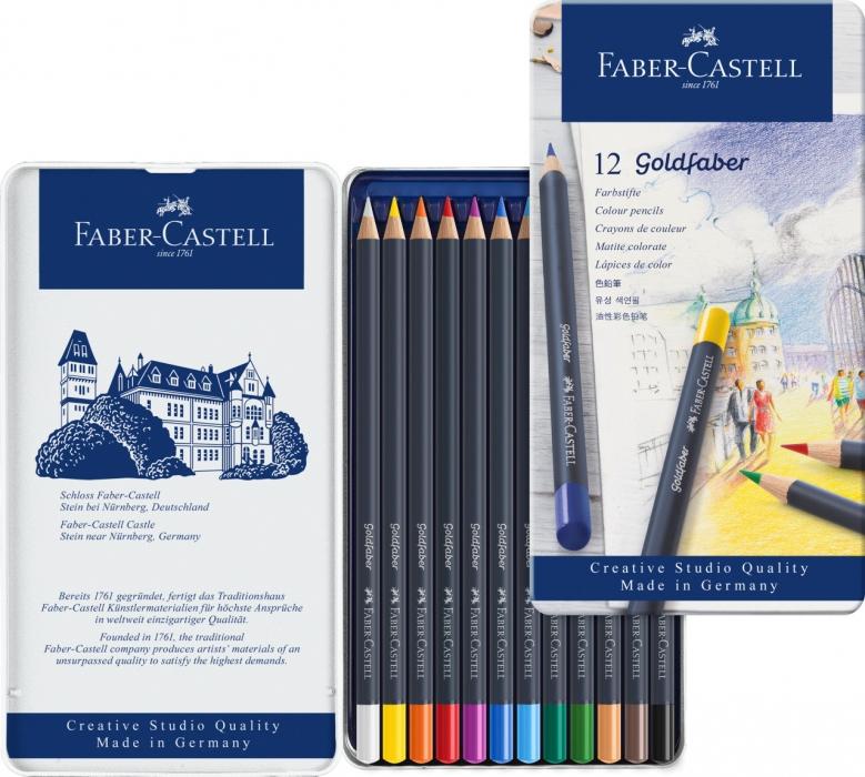 Цветные карандаши Goldfaber, в метал. коробке, 12 шт.