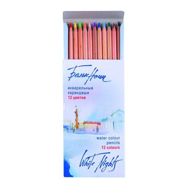 Набор акварельных карандашей с кистью Белые Ночи, 12 цветов.