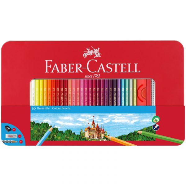 Цветные карандаши Замок, в мет. коробке, 60 штук.