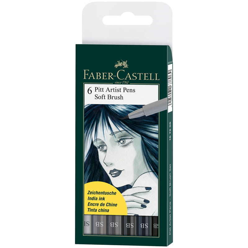 Капиллярные ручки (браш-пэн) Pitt Artist Pen Soft Brush, оттенки серого, 6 штук.