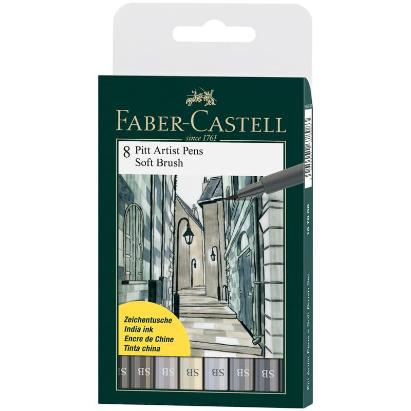 Капиллярные ручки (браш-пэн) Pitt Artist Pen Soft Brush, оттенки серого, 8 штук.