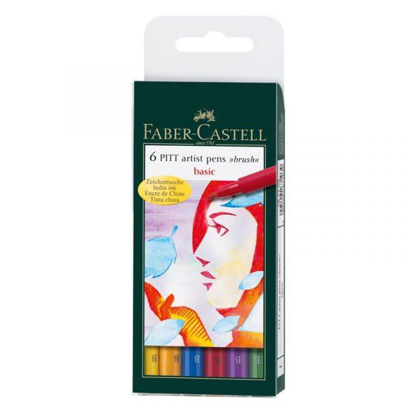 Капиллярные ручки PITT® ARTIST PEN,основные цвета, в футляре, 6 шт.