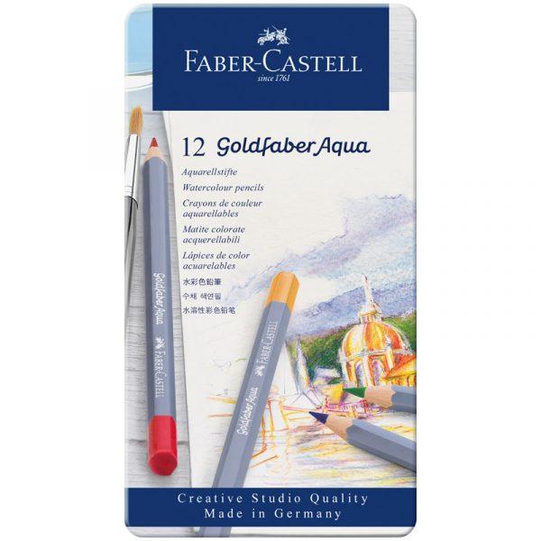 Акварельные карандаши Goldfaber Aqua в металлической коробке, 12 штук.