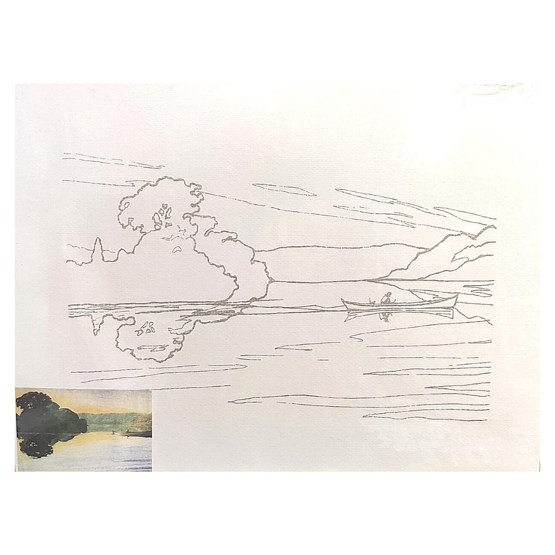 "Бумага акварельная на картоне с контуром ""Вечер на реке"", 35х50см."