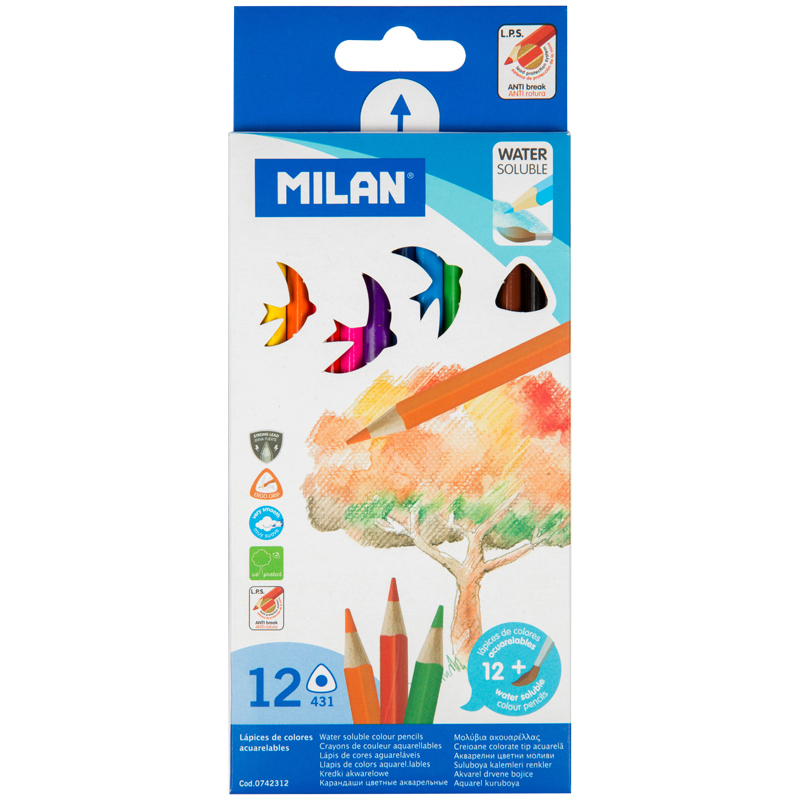 Карандаши акварельные Milan c кистью, 12 цветов.