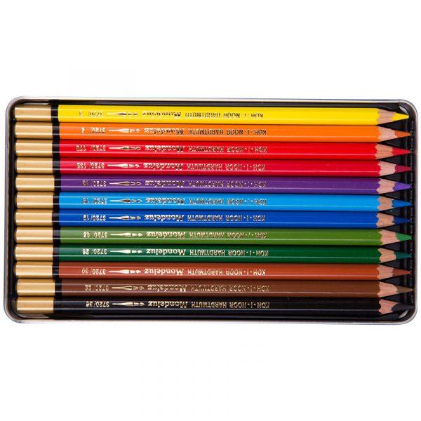 Набор акварельных карандашей Mondeluz в жестяной упаковке, 12 цветов.