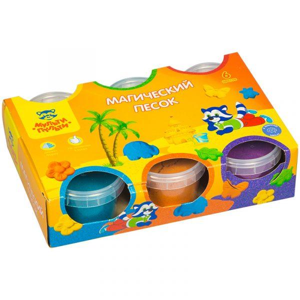 """Набор песок для лепки с формочками """"Магический песок"""", 6 цветов"""