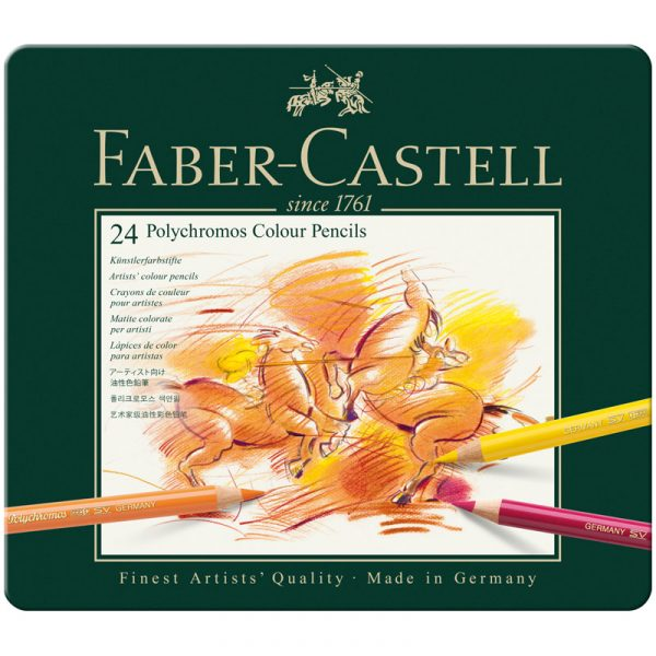 Цветные карандаши POLYCHROMOS®, набор цветов, в металлической коробке, 24 шт.