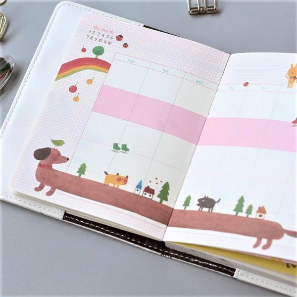 """Ежедневник на кнопке """"Фламинго"""" А6, 78 листов."""