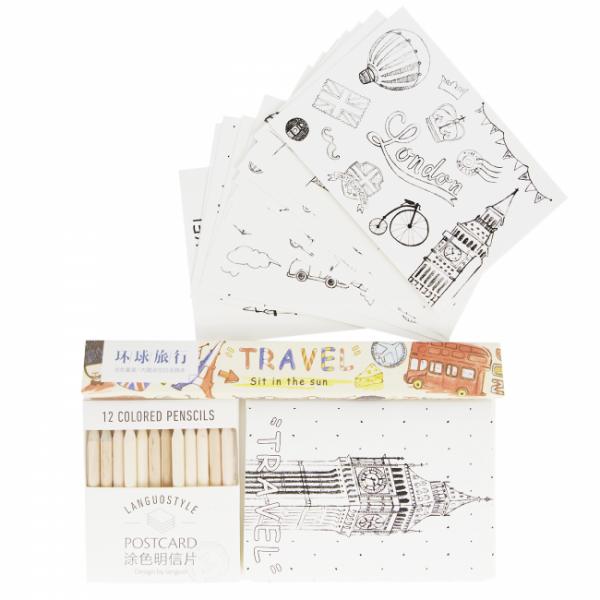 """Набор цветных карандашей с открытками """"Путешествия"""", 12 цветов."""