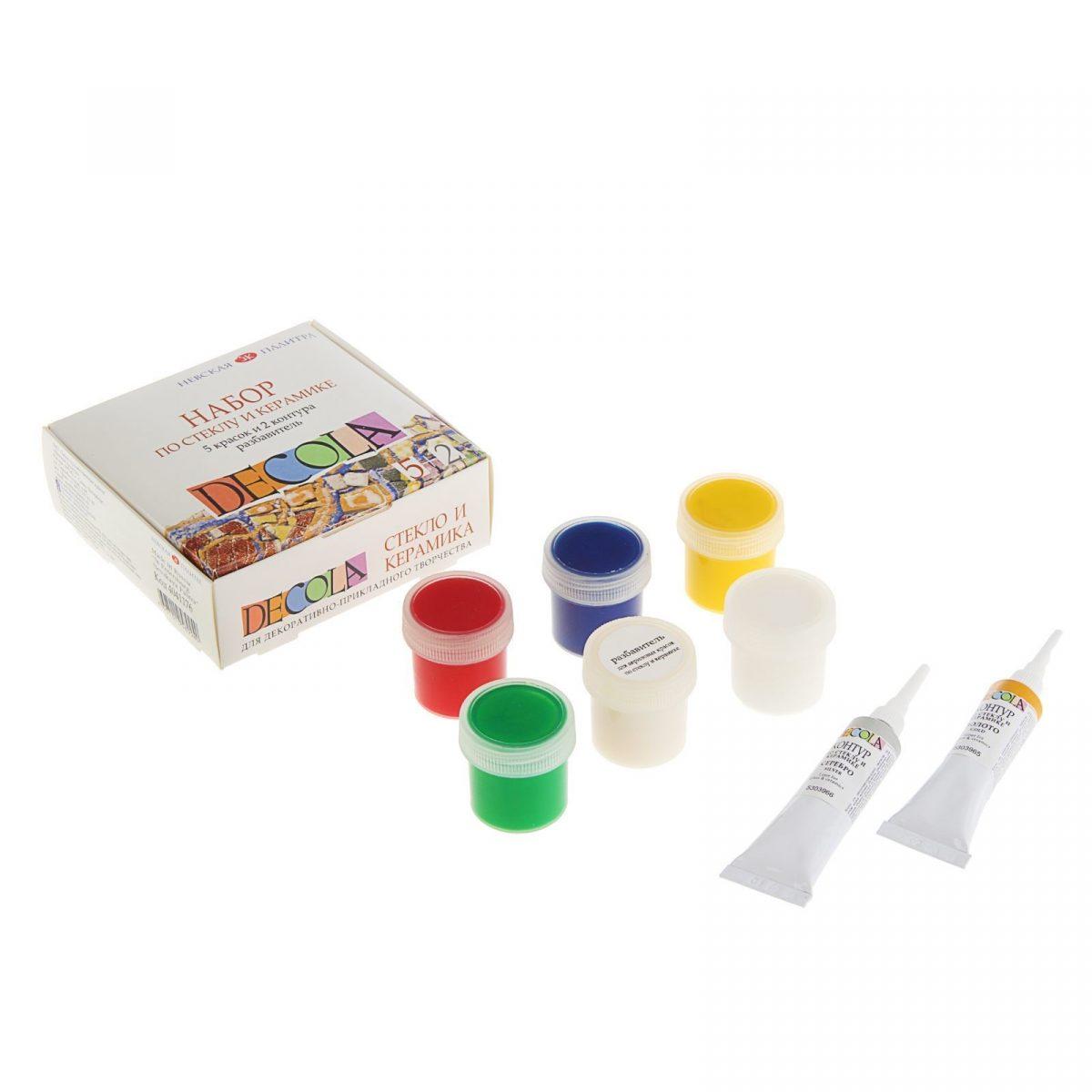 """Набор по стеклу и керамике """"Decola"""": краски, контуры+разбавитель"""