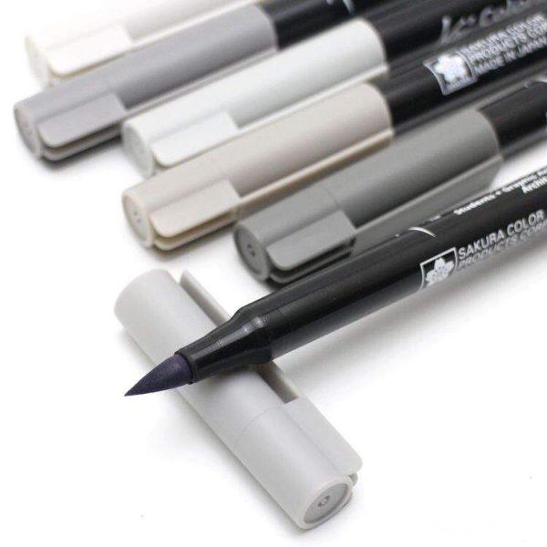 Набор маркеров акварельных Koi (кисточка), оттенки серого, 6 цветов