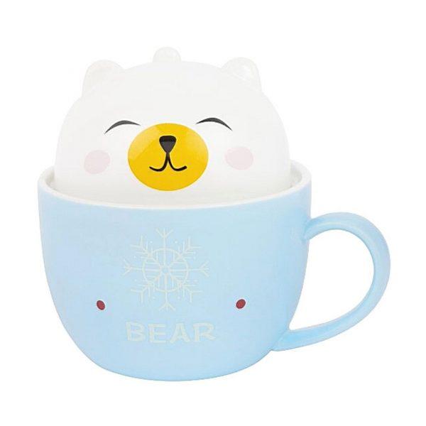 Чашка с крышкой-медведем, 200мл.