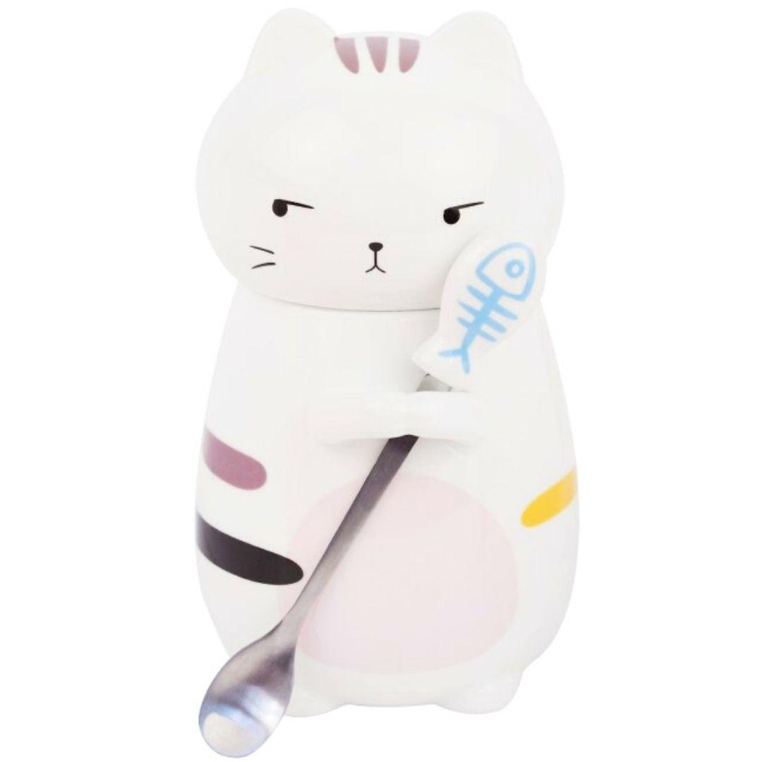 Чашка в форме кота с крышкой и ложечкой (розовое пятнышко), 350мл.