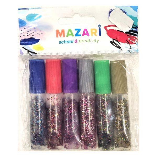 Гель MAZARI с блестками, 6цветов, 6мл.