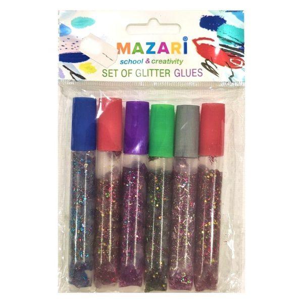 Гель MAZARI с блестками, 6цветов, 10мл.