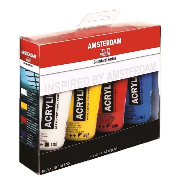 Набор акриловых красок Amsterdam Standart Mixing 4 цвета, 75мл.