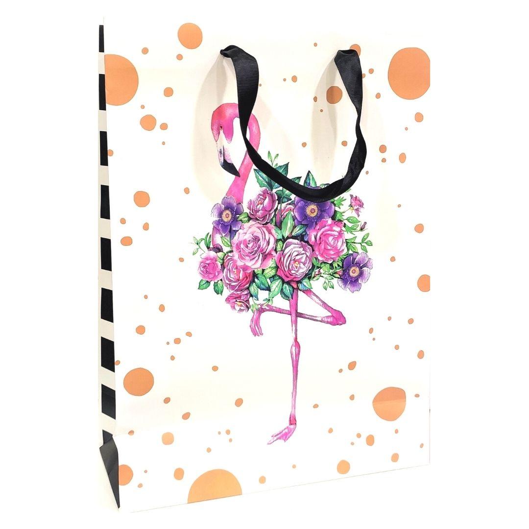 """Пакет подарочный """"Фламинго"""", 26х36х11см."""