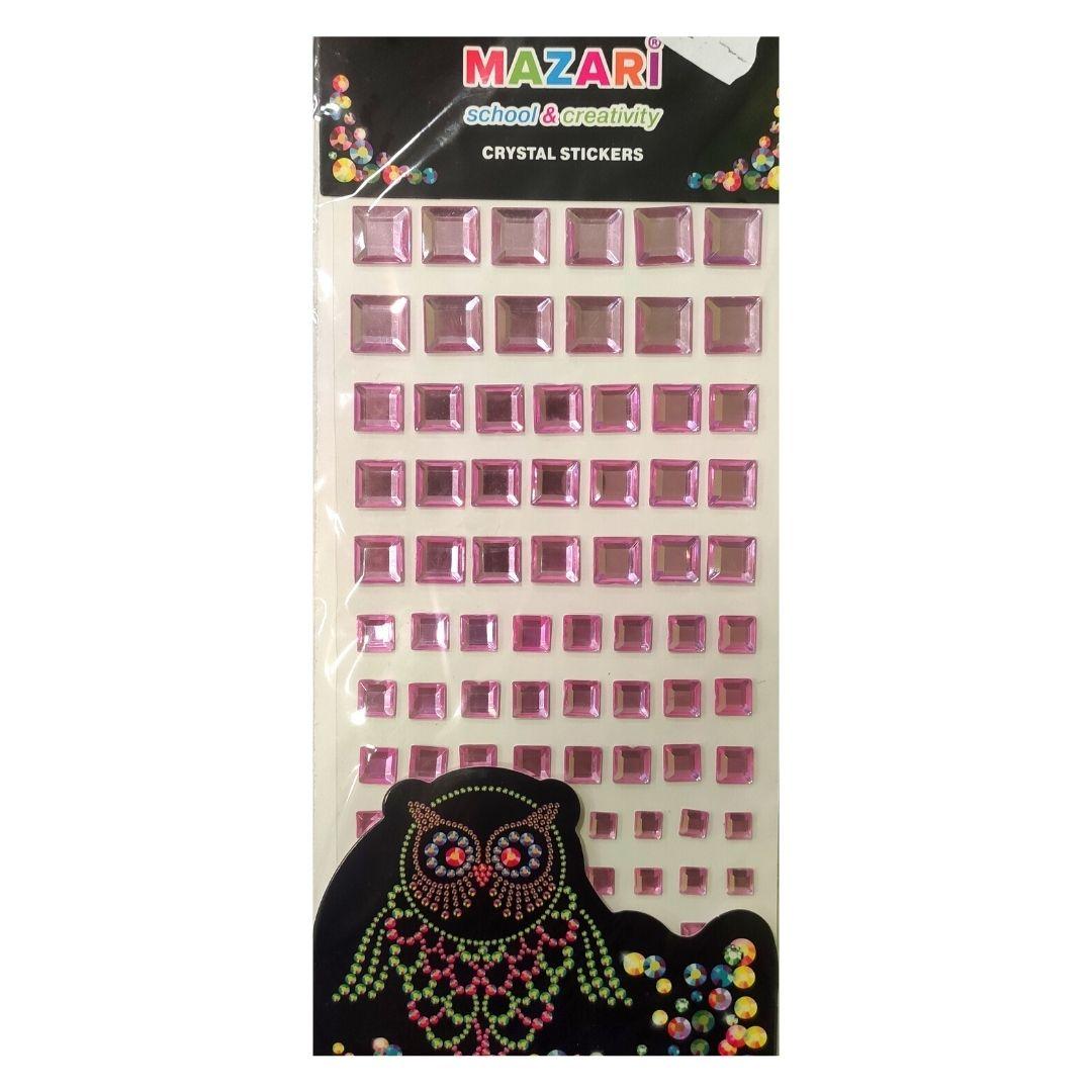 Стразы-наклейки квадратные Mazari Розовые, 84штуки.