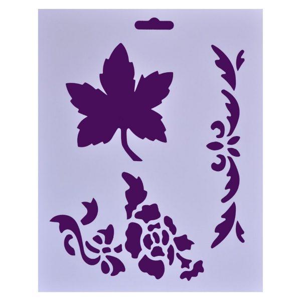 "Трафарет пластиковый ""Цветок, лист"", 25,5х20,5см."