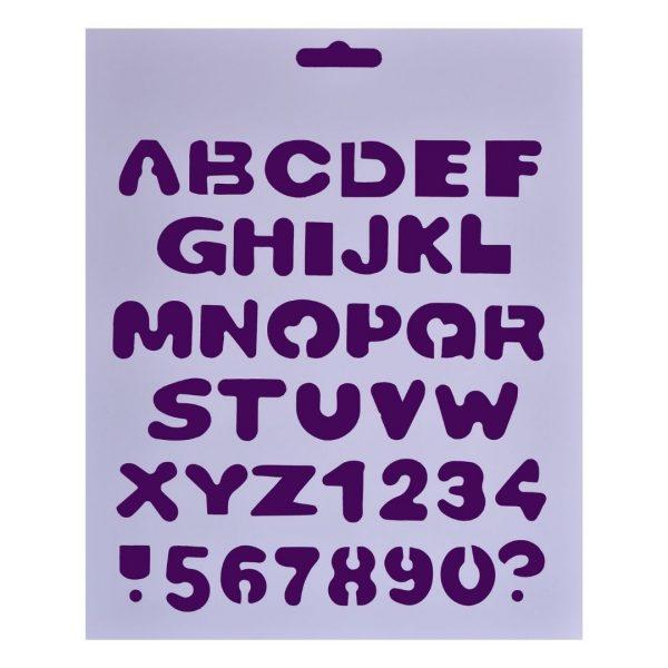 """Трафарет пластиковый """"Латинские печатные буквы и цифры"""", 25,5х20,5см."""