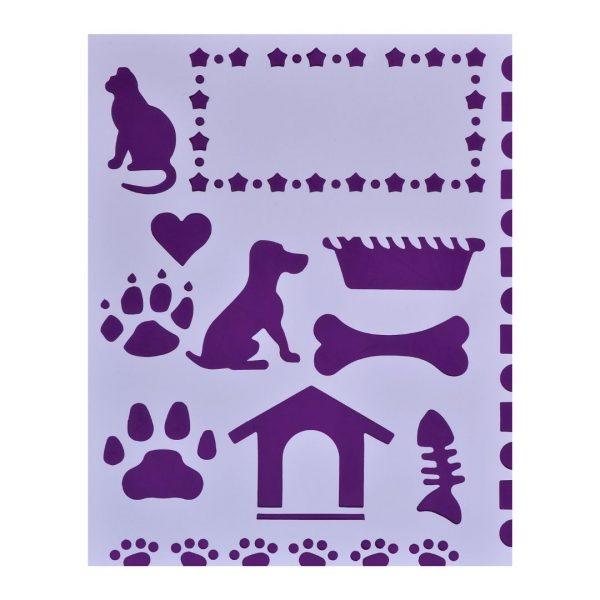 "Трафарет пластиковый ""Кошка и собака"" 25,5х20,5см."