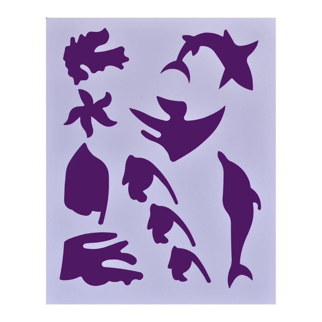 """Трафарет пластиковый """"Морские мотивы 2"""", 25,5х20,5см."""