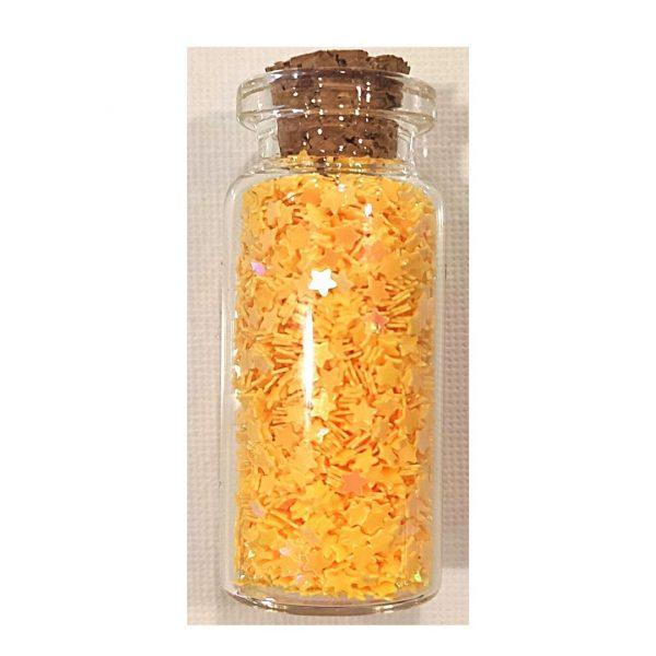 Блестки фигурные (звезды) в стеклянной банке Желтые, 15ml.