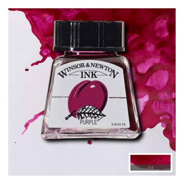 Тушь Winsor&Newton для рисования, пурпурный, стекл. флакон 14мл