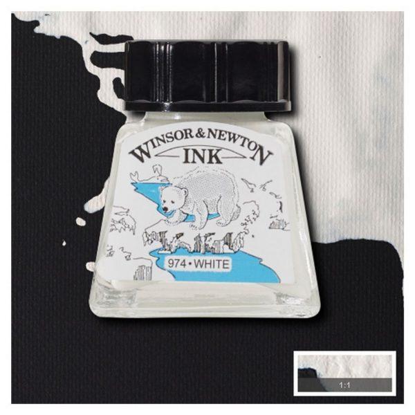 Тушь Winsor&Newton для рисования, белый, стекл. флакон 14мл