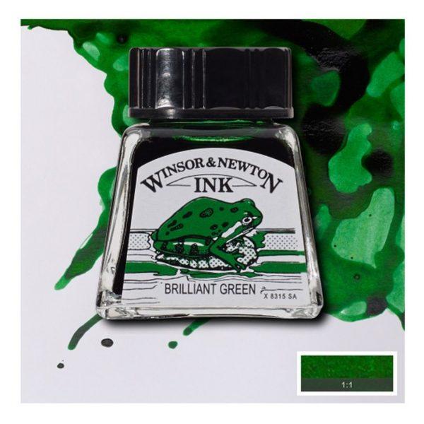 Тушь Winsor&Newton для рисования, бриллиант зеленый, стекл. флакон 14мл
