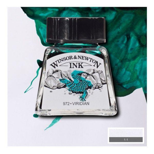 Тушь Winsor&Newton для рисования, виридоновый, стекл. флакон 14мл