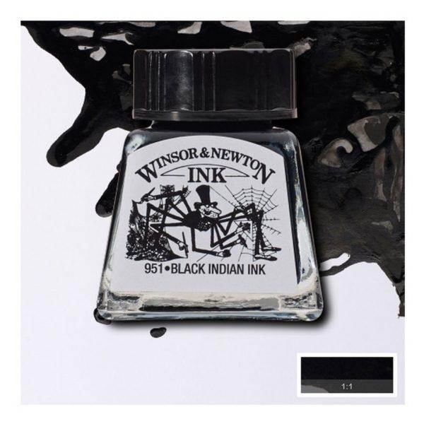 Тушь Winsor&Newton для рисования, черный, стекл. флакон 14мл