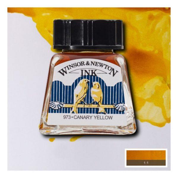 Тушь Winsor&Newton для рисования, желтый канареечный, стекл. флакон 14мл