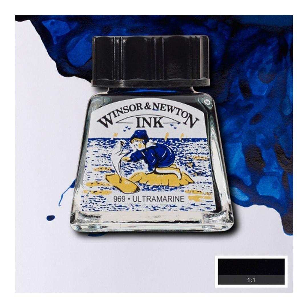Тушь Winsor&Newton для рисования, ультрамариновый, стекл. флакон 14мл