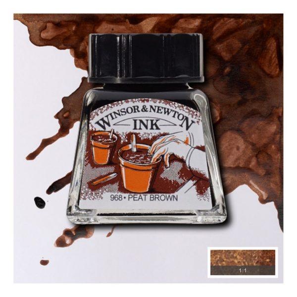 Тушь Winsor&Newton для рисования, торфяно-коричневый, стекл. флакон 14мл