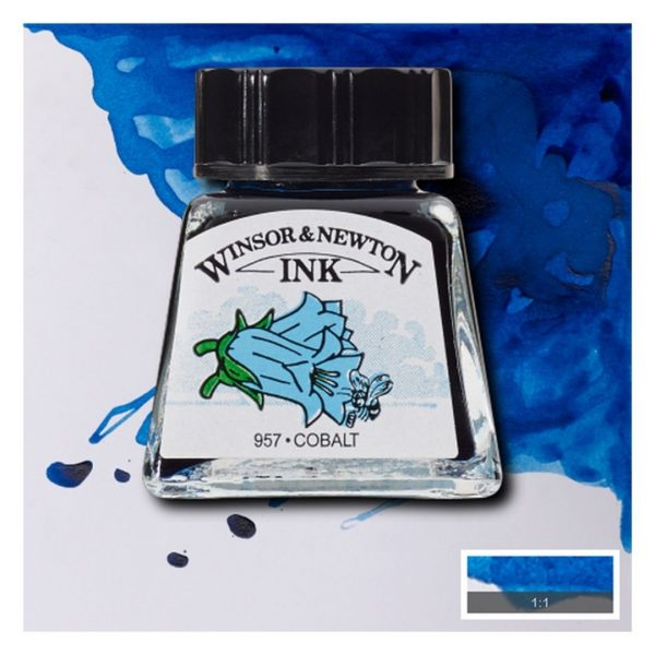Тушь Winsor&Newton для рисования, кобальт, стекл. флакон 14мл