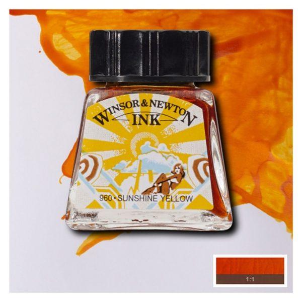 Тушь Winsor&Newton для рисования, солнечно-желтый, стекл. флакон 14мл