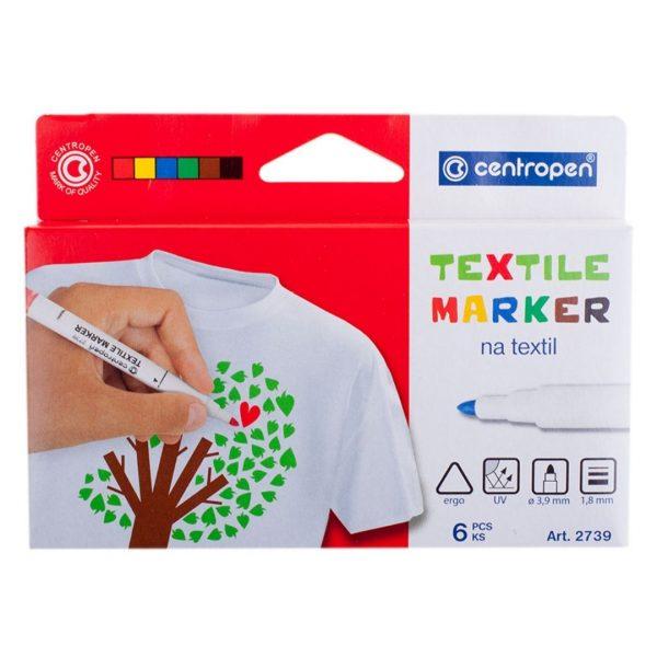 """Набор маркеров для ткани Centropen """"Textil Marker 2739"""" 6 цветов,1.8мм."""