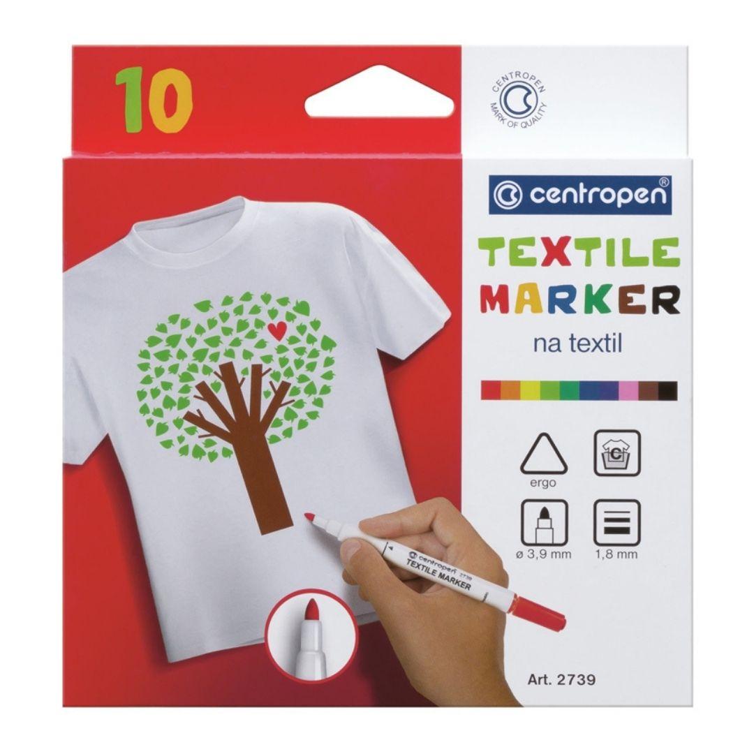 """Набор маркеров для ткани Centropen """"Textil Marker 2739"""" 10 цветов."""