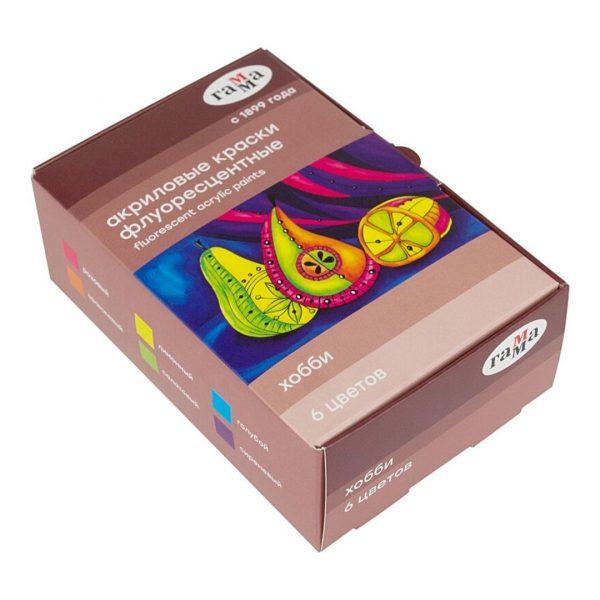 """Краски акриловые флуоресцентные Гамма """"Хобби"""", 6 цветов, 20мл."""