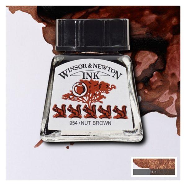 Тушь Winsor&Newton для рисования, орехово-коричневый, стекл. флакон 14мл