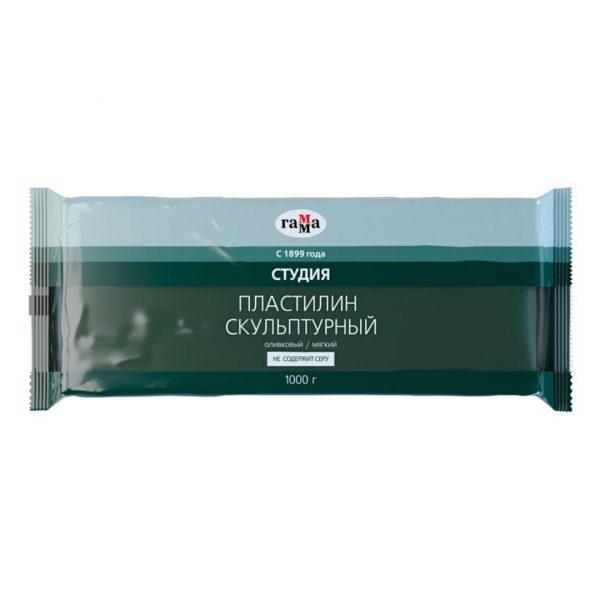 """Пластилин скульптурный Гамма """"Студия"""", оливковый, мягкий, 1кг"""