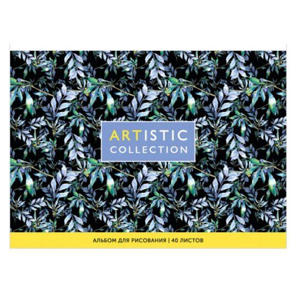 """Альбом для рисования на склейке черный """"Artistic collection"""" А5, 40 листов."""