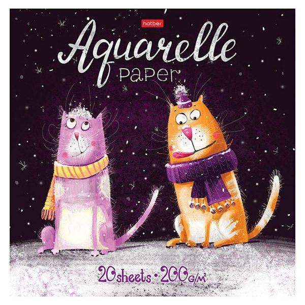 """Альбом для акварели на склейке """"Прикольные коты"""", 20 листов."""