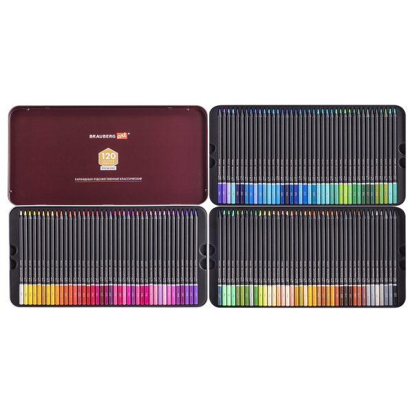 Карандаши художественные цветные BRAUBERG ART PREMIERE, 120 цветов.